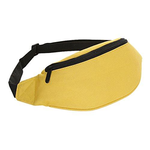 SODIAL Bolsa Rinonera Bolso de dinero de festival de cintura cadera Cartera de cinturon Deporte Vacacion Ninos amarillo