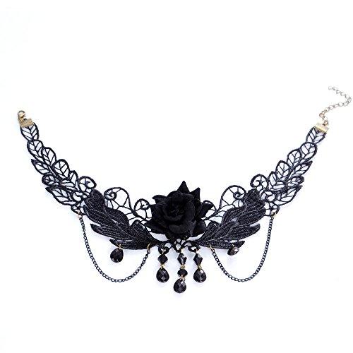 Gargantilla-Collar-Victoriano-Colgante-De-Collar-De-Gotas-De-Agua-Floral-Gtico-de-Encaje-Negro