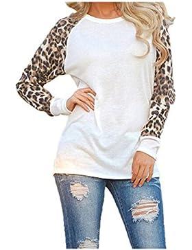 Mujeres Leopardo Camiseta Manga Larga Camisetas Raglan T - Shirt