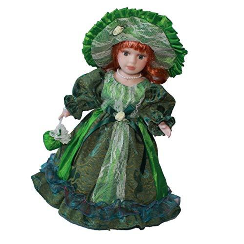 Perfeclan 30cm Porzellan Mädchen Puppe Sammlerpuppe Standpuppe mit Prinzessinkleid, Handtasche, Hut und Ständer - Grün, B