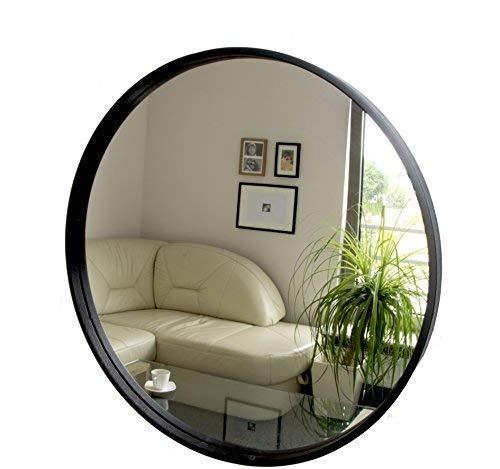 BD ART Espejo Redondo Moderno, Espejo de Pared, diámetro 50 cm, Madera, Color Negro