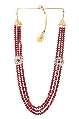Sanjog Embellished Maroon Colour Premium Long Pearl Jewellery Necklace For Men/Groom For Wedding Wear(Dule Ki Mala)