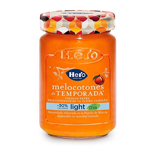 Hero Temporada Light Mermelada Melocotón , Frasco de Cristal - 335 gr - [Pack de 4]