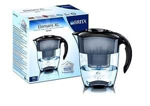 Brita 100080- Carafe filtrante Elemaris XL Noire- Technologie de filtration Maxtra