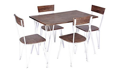 Enrico coveri contemporary set tavolo con 4 sedie in legno e metallo, moderno ed elegante, ideale per cucina, salone e sala da pranzo (olmo)