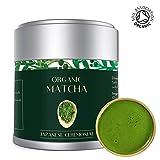Thé Vert Matcha Poudre 30g Biologique | Grade Ceremonial Premium Couleur vert foncé | De Kyoto Uji Japon | Idéal pour perdre du poids et booster d'énergie | Bio Batch M13