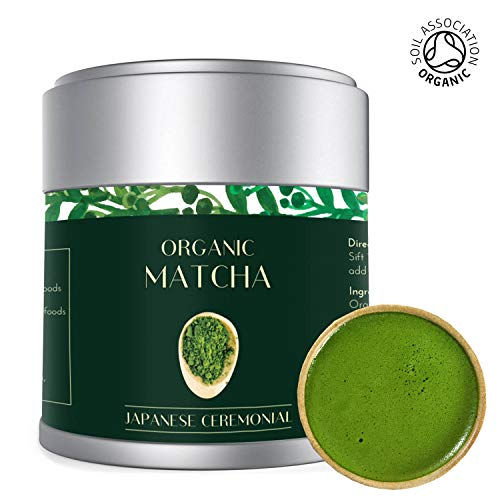 Matcha Green Tea Powder 30g Tin | Finest Organic Ceremonial Premium Grade | Radiation Free | Deep Green | Japanese Uji Kyoto | Stone Ground | Vegan, No Additives, Focus & Energy Booster | Lot M25