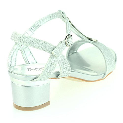 Frau Damen Detail Offener Zeh Fesselriemen Schnallenverschluss Mittel Blockabsatz Abend Leger Party Sandalen Schuhe Größe Silber