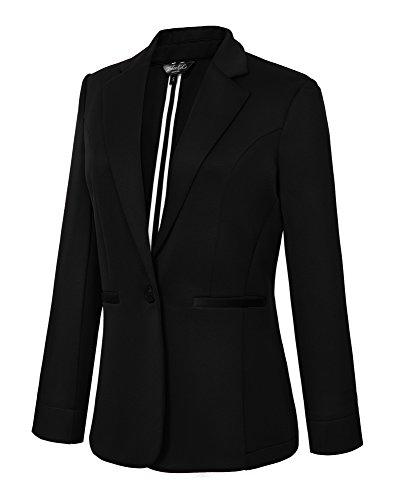 EXCHIC Damen Anzugjacke Mit Klassische 1-Knopf Reihe (M, Schwarz) (Formale Schößchen Bluse)