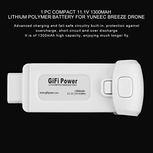 2 Unidades 11.1V 1300mAh 14.43Wh Batería de polímero de Litio para Yuneec Breeze Drone (Color: Blanco)