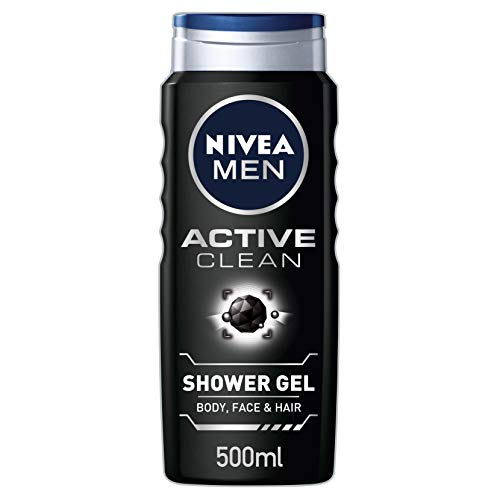 NIVEA MEN Shower Gel, Active Clean with Charcoal, 500 ml, Pack of 6