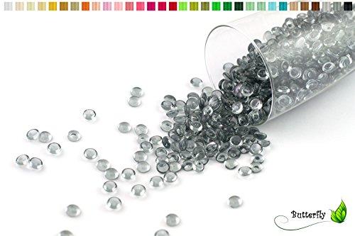 Creativery ca.100g Beutel Tautropfen ca. Ø 7 mm Raindrops Kristalltau Deko Streudeko Granulat Dekogranulat transparent (silber/grau 077)