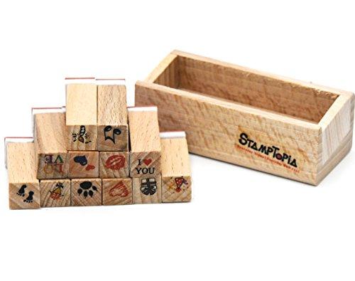 ße DIY Holz Gummi Stempel Tagebuch Scrapbooking Stempel Set (Rosenblüten und Buchstaben, 5er Set Liebes-Herz - 12er-Set ()
