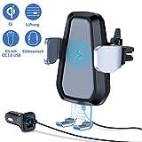 VANMASS Handyhalterung Auto Wireless Charger Lüftung mit QC 3.0 Kfz Sets, Automatische Smartphone Halterung 10W/7,5W Qi Ladestation Elektronisch Handyhalter für Auto iPhone XR/XS/X Galaxy S10/S10+