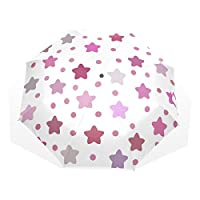 COOSUN Woman Stars Pattern Manually Fold-able Rain Windproof Umbrella