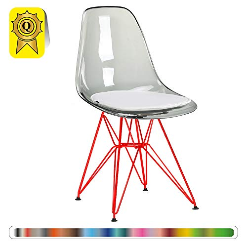 Decopresto 1 x Chaise Design Scandinave Retro Transparent Gris Pieds Acier Vernis Rouge DP-DSRR-TG-1P