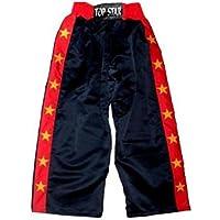 TS Kickboxhose aus Satin | Schwarz mit Roten Streifen und Sternen