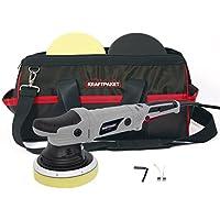 Dino KRAFTPAKET 21mm-720W Exzenter Poliermaschine Stufenlos im Set mit Polierschwamm Polierteller Tasche für Auto KFZ Boot XXL-HUB