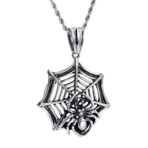 YEBENI Herren Edelstahl Silber Schwarz Ton Halloween gruseliger Spinnen Netz Bug Ausschnitt Anhänger Halskette
