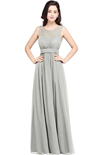 Damen A-Linie Spitze Hochzeitskleid Standesamt Chiffon Festkleid Hochzeit lang Silver Gr.40