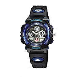 Mixe LED Digital-analog Boys Girls Sport 30M Waterproof Sport Digital Watch Dual Time Display - Deep blue