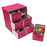 Kurtzy Aufbewahrungsboxen Stoff/Faltbare Aufbewahrungsbox - Schubladenboxen mit 6 Fächern - Schubladenschrank Organisator Einheit für Spielzeug, Schmuck, Make-up, Handwerke und Mehr Test