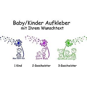 Baby/Kinder/Geschwister ***AUFKLEBER m. Pusteblume + Wunschtext*** – freie Motiv.- Schrift und Farbauswahl
