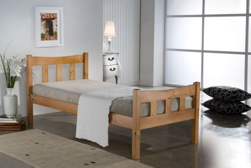 "Happy Beds Miami 4'6"" Double Size Quality Double Bolted Antique Pine Finished Wooden Bed With Pocket Sprung Mattress"