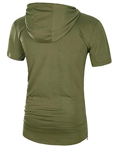 Herren T-Shirt Lange mit Kapuze Kurzarm Hoodie Kapuzenpullover Armeegrün