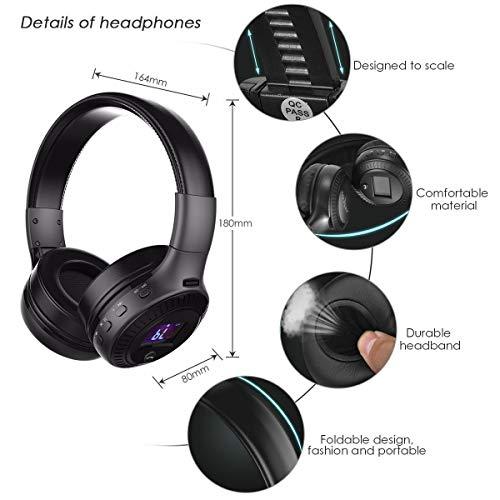 Bluetooth Kopfhörer, ELEGIANT Bluetooth 4.0 Stereo Headset On Ear Kopfhörer mit Digital Display 4 Modi Freisprechfunktion + Mic/ FM Radio/ TF SD Karte Slot/ 3,5mm Audio AUX - 3