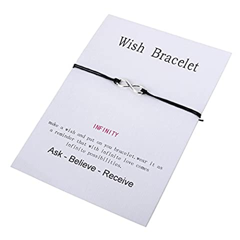 HOUSWEETY Wish Bracelet with String Infinity Charm, Birthday Wishes Thoughtful Card BFF Bracelet, 14-28cm, Colour Options