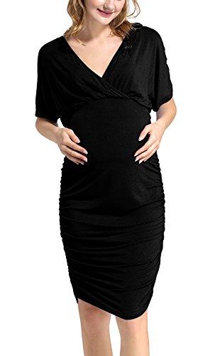 Damen Umstandskleidung Tunika Top Lagendesign-Design Kurzarm T-Shirt,Schwarz, S (Womens Kirche Anzüge Unter 100)