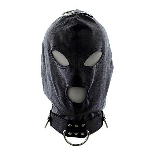 Isolationsmaske Sklaven Maske Masken Cosplay Maske Halloween Masquerade Masken Kostüme Spandex Schwarz Bondage Leder Kopf Maske gepolstert SM Sex Spielzeug VNT905, Cosy-L