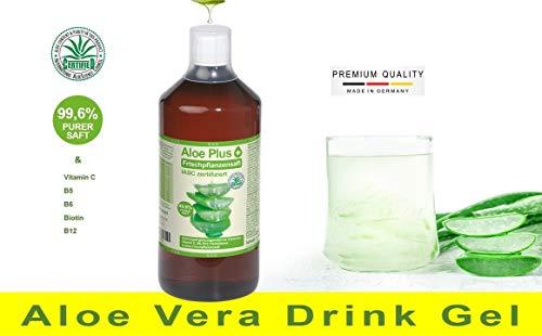 100% Aloe Vera Gel, PURER SAFT 99.6% Aloe mit Vitamin C, B5, B6, Biotin, B12, ISAC zertifiziert, 1L mit Messbecher | Nahrungsergänzung | Premium Qualität | Aloe Plus von Secret Essentials