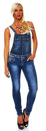 10628 Fashion4Young Damen Latzhose Hose pants mit Träger Röhren Jeans Overall Jeanshose Trägerhose (XS=34, Dunkelblau)
