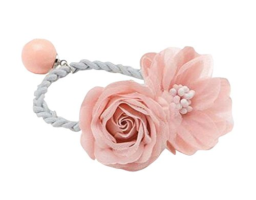 Belle fleur rose femmes / filles cheveux élastique / Tie cheveux