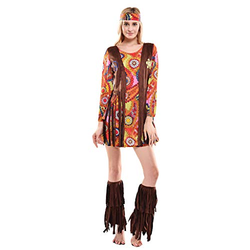 EraSpooky Costume da Hippie da Donna Anni '70 Cosplay Vestito da Festa di Halloween Divertente per Donne Adulte