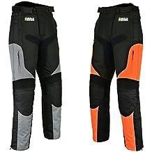 CorduraHilbro – Pantalones cordura de motociclismo para hombre, impermeables, tela Cordura, todas las tallas, hombre, negro/naranja