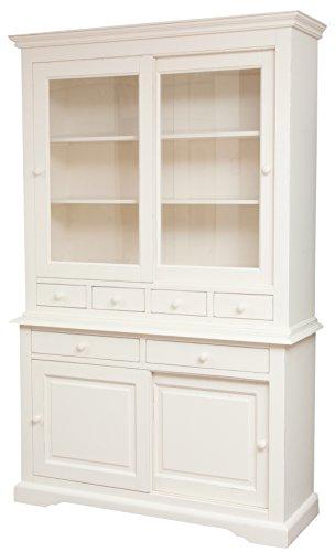 Blanc antique de pays buffet finition bois massif calcaire 142 x 50 x 225 cm