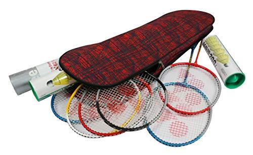 KD Badmintonschlägertasche mit verstellbarem Schultergurt, Schlägertasche für 6 + Schläger, Shuttle-Box, Handtuch und mehr, rot