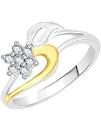 VK Jewels Leafy Star Gold And Rhodium Plated Alloy CZ American Diamond Ring For Women [VKFR2703G]