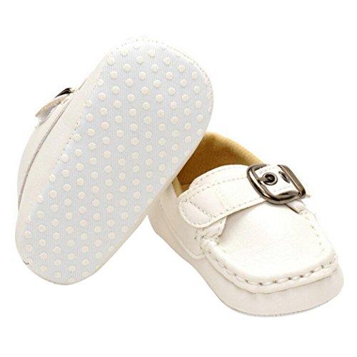 Chaussures Bébé,Fulltime® Chaussures bébé anti-dérapant en cuir Prewalker Toddler semelle souple Blanc
