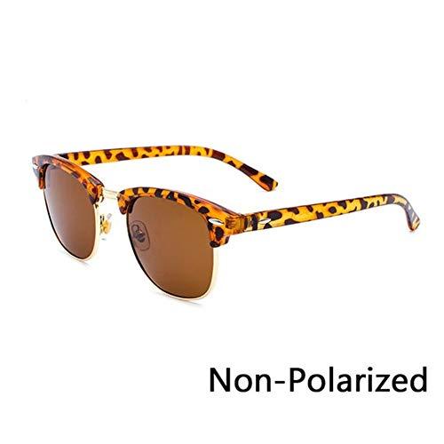 XIAOYUTOU 2019 polarisierte semi-randlose Sonnenbrille Frauen/männer Vintage Reis Nagel uv400 Klassische Brillen markendesigner Sonnenbrille (Lenses Color : P Leopard Brown)