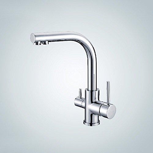 Hlluya Wasserhahn für Waschbecken Küche Das Kupfer Kalt-und Warmwasser Küche Buchsenleiste mit Wasseranschluß Wasserspender direkte Trinkwasser Wasserhahn schwenken