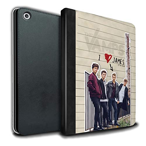 The Vamps PU Pelle Custodia/Cover/Caso Libro per Apple iPad 9.7 2018/6th Gen Tablet/James Diario Segreto Disegno
