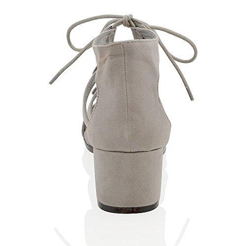 Essex Glam Sandalo Donna Sintetico Tacco Basso con Lacci Grigio Ecopelle Scamosciata