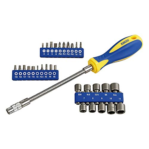 Kinzo Bit- und Steckschlüsselsatz 31-teilig | Flexibler Schaft | Hochwertiger Chrom Vanadium Stahl | Magnetisch | erreicht auch schwierige Stellen mühelos