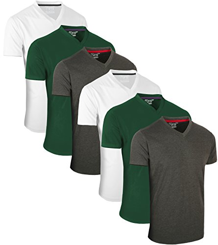 Full Time Sports 6 Pack Kohle Grün Weiß mit V-Ausschnitt Tech T-Shirts (5) X-Large
