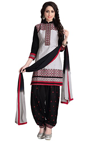 Justkartit Women's Unstitched Embroidery Grey & Black Colour Simple & Sober Office...
