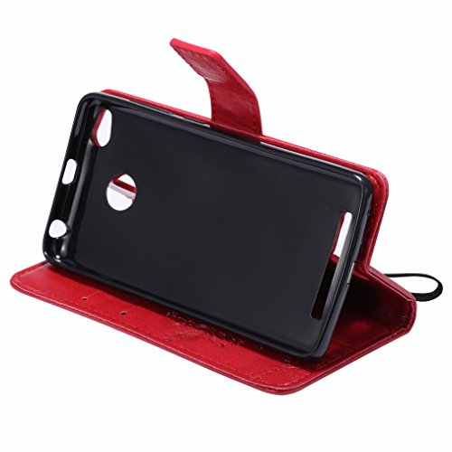 Custodia Xiaomi Rossomi 3s Cover Case, Ougger Fortunato Foglia Stampa Portafoglio PU Pelle Magnetico Stand Morbido Silicone Flip Bumper Protettivo Gomma Shell Borsa Custodie con Slot per Schede (Caffè Rosso